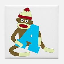 Sock Monkey Monogram Boy A Tile Coaster