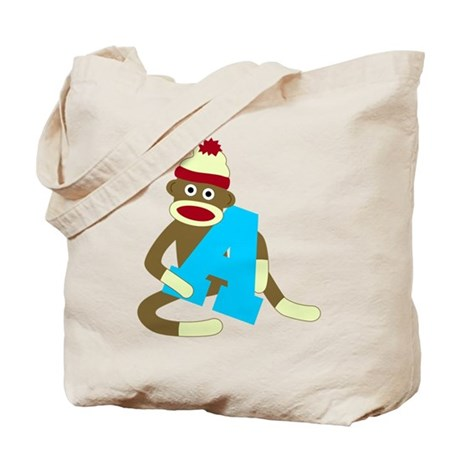 Sock Monkey Monogram Boy A Tote Bag