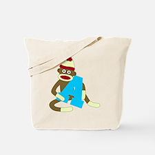 Sock Monkey Monogram Boy A Tote Bag