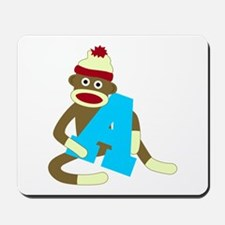 Sock Monkey Monogram Boy A Mousepad