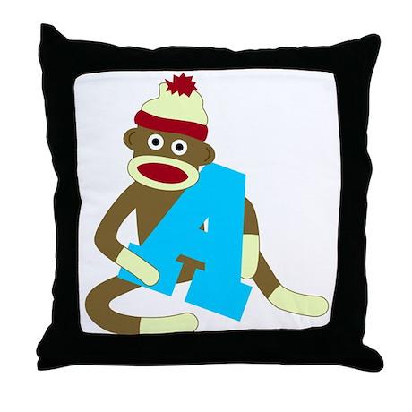 Sock Monkey Monogram Boy A Throw Pillow
