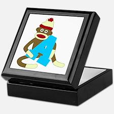 Sock Monkey Monogram Boy A Keepsake Box
