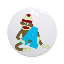 Sock Monkey Monogram Boy A Ornament (Round)
