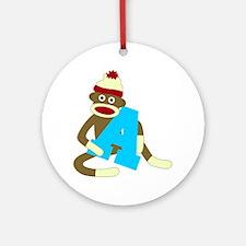 Sock Monkey Monogram Boy A Ornament (Round)