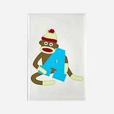 Sock Monkey Monogram Boy A Rectangle Magnet