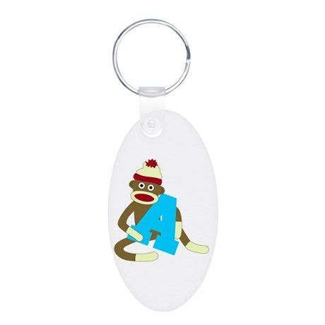 Sock Monkey Monogram Boy A Aluminum Oval Keychain