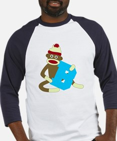 Sock Monkey Monogram Boy B Baseball Jersey