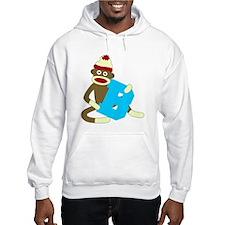 Sock Monkey Monogram Boy B Hoodie