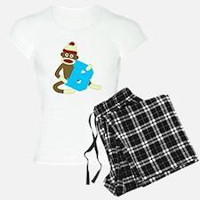 Sock Monkey Monogram Boy B Pajamas