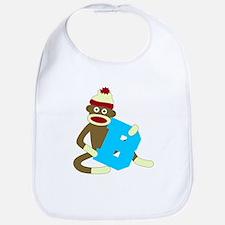 Sock Monkey Monogram Boy B Baby Bib
