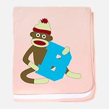 Sock Monkey Monogram Boy B baby blanket
