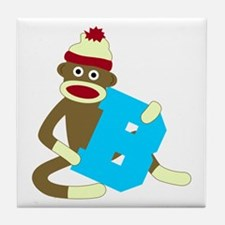 Sock Monkey Monogram Boy B Tile Coaster