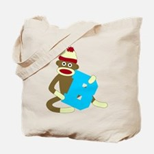 Sock Monkey Monogram Boy B Tote Bag