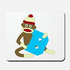 Sock Monkey Monogram Boy B Mousepad