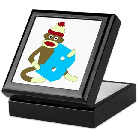 Sock Monkey Monogram Boy B Keepsake Box