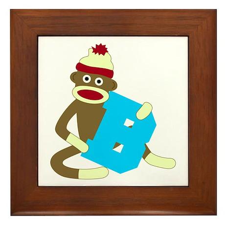 Sock Monkey Monogram Boy B Framed Tile
