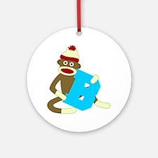 Sock Monkey Monogram Boy B Ornament (Round)