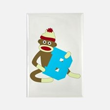 Sock Monkey Monogram Boy B Rectangle Magnet