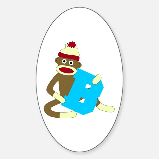 Sock Monkey Monogram Boy B Sticker (Oval)