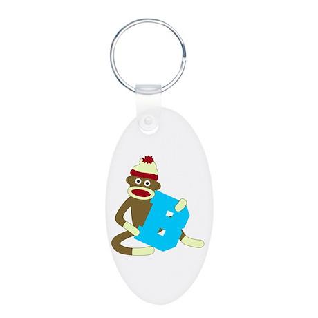 Sock Monkey Monogram Boy B Aluminum Oval Keychain
