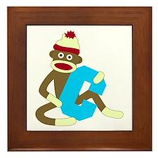 Sock Monkey Monogram Boy C Framed Tile