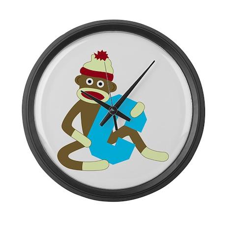 Sock Monkey Monogram Boy C Large Wall Clock