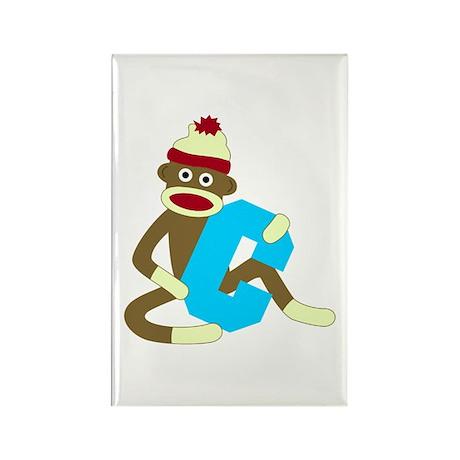 Sock Monkey Monogram Boy C Rectangle Magnet