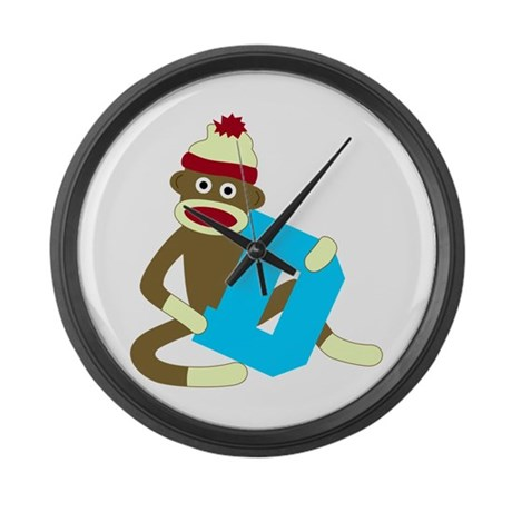 Sock Monkey Monogram Boy D Large Wall Clock