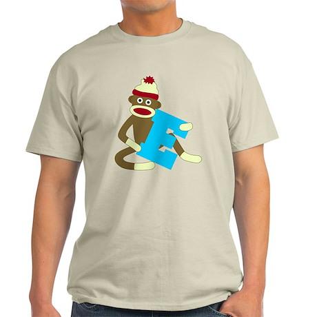Sock Monkey Monogram Boy E Light T-Shirt