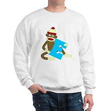 Sock Monkey Monogram Boy E Sweatshirt