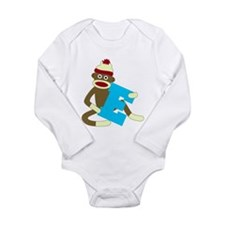 Sock Monkey Monogram Boy E Long Sleeve Bodysuit