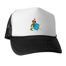 Sock Monkey Monogram Boy E Trucker Hat