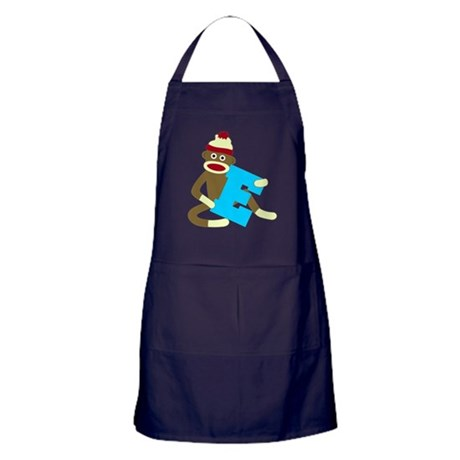 Sock Monkey Monogram Boy E Apron (dark)