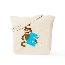 Sock Monkey Monogram Boy E Tote Bag