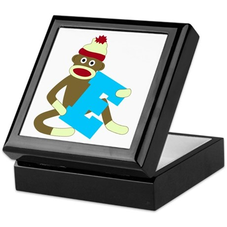 Sock Monkey Monogram Boy E Keepsake Box