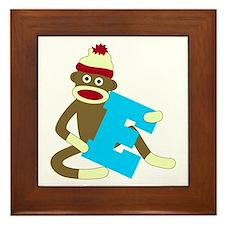 Sock Monkey Monogram Boy E Framed Tile