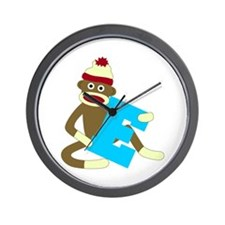 Sock Monkey Monogram Boy E Wall Clock