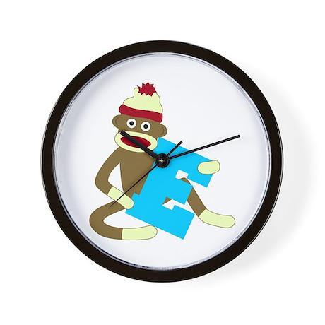 Sock Monkey Monogram Boy E Wall Clock