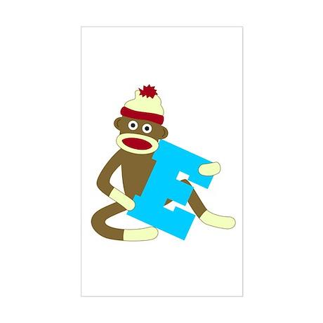 Sock Monkey Monogram Boy E Sticker (Rectangle)