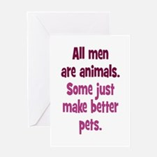 Men as Pets Greeting Card