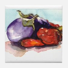 eggplants and peppers Tile Coaster