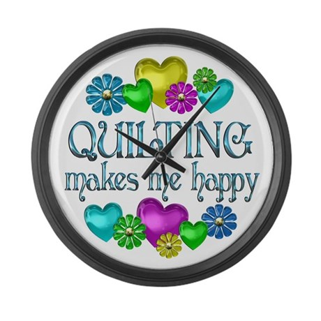 Quilting Happiness Large Wall Clock