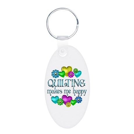 Quilting Happiness Aluminum Oval Keychain