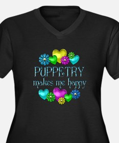 Puppetry Happiness Women's Plus Size V-Neck Dark T