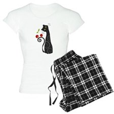 Black Cat with Cherries Pajamas