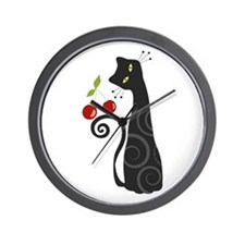 Black Cat with Cherries Wall Clock