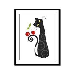 Black Cat with Cherries Framed Panel Print