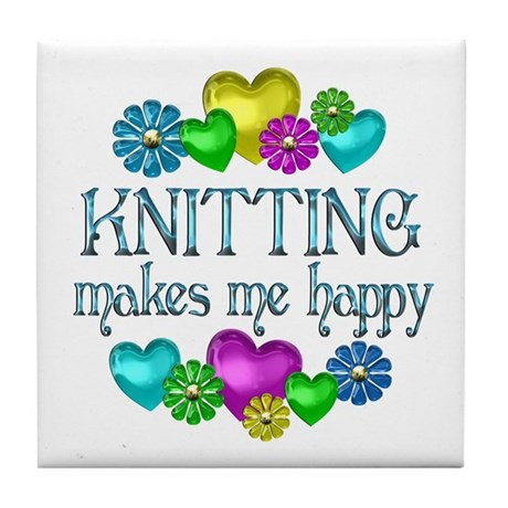 Knitting Happiness Tile Coaster
