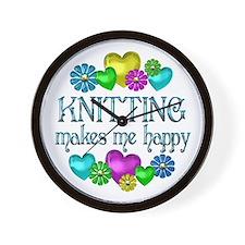 Knitting Happiness Wall Clock