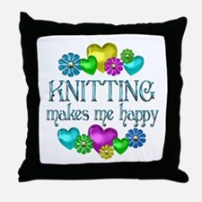 Knitting Happiness Throw Pillow